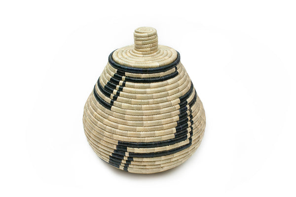 White and Black Woven Basket