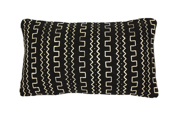 Mud Cloth Black Bolster Cushion