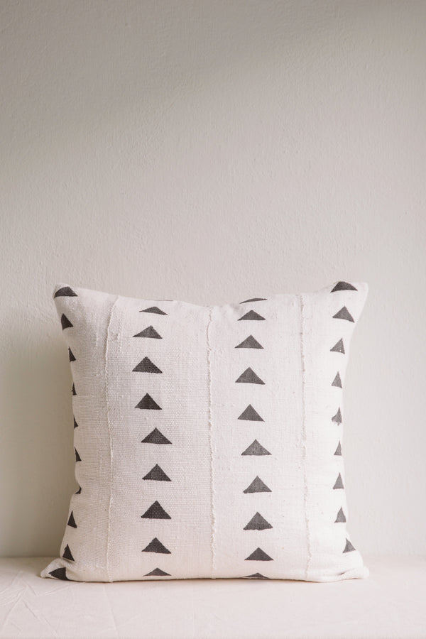 Esther White Triangle Mud Cloth Cushion