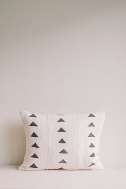 Emily White Triangle Mud Cloth Cushion