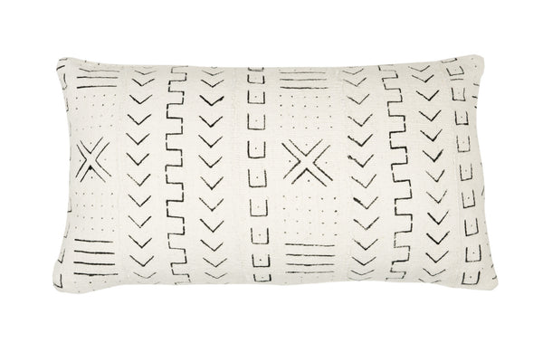 Mud Cloth White Bolster Cushion