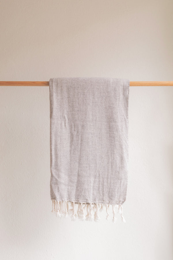 Herringbone Cotton + Wool Blanket
