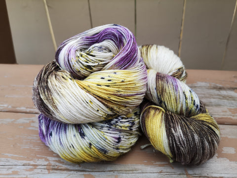 Rolling In It Hand Dyed Fingering Weight GOLD Sparkle Yarn