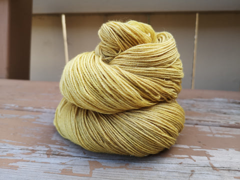 Wealthy Hand Dyed Fingering Weight GOLD Sparkle Yarn