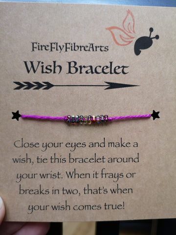 Wish Bracelet Hand Dyed Yarn with Beads