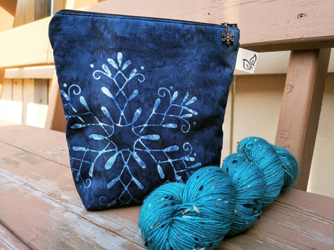 Snowflake Small Project Bag With Garden Gnomes