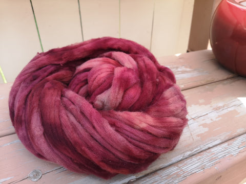 Vintage Rose Hand Dyed 100% Canadian Rambouillet Wool Spinning Fibre Combed Top