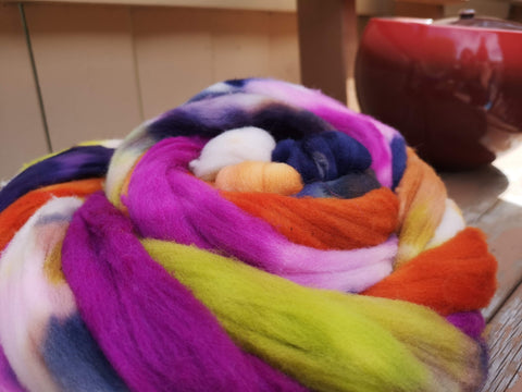 Hand Dyed 100% Canadian Rambouillet Wool Spinning Fibre Combed Top