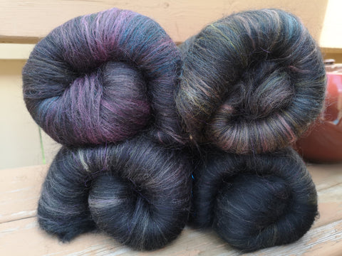 Dark Carded Wool Spinning Fibre Batt