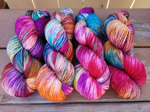 Tie Dye Fingering Weight Sock Yarn
