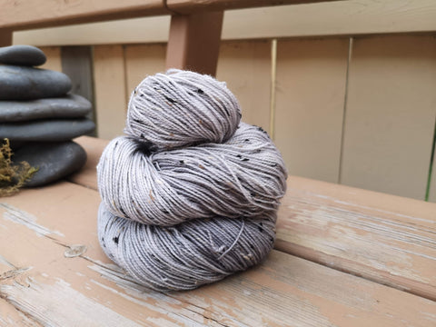 Overcast Tweed Fingering Weight Hand Dyed Yarn