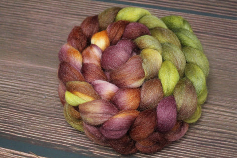 Hand Dyed Polworth Wool Tussah Silk Combed Top