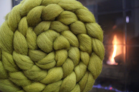 Lemongrass Hand Dyed Combed Top Polworth Braid