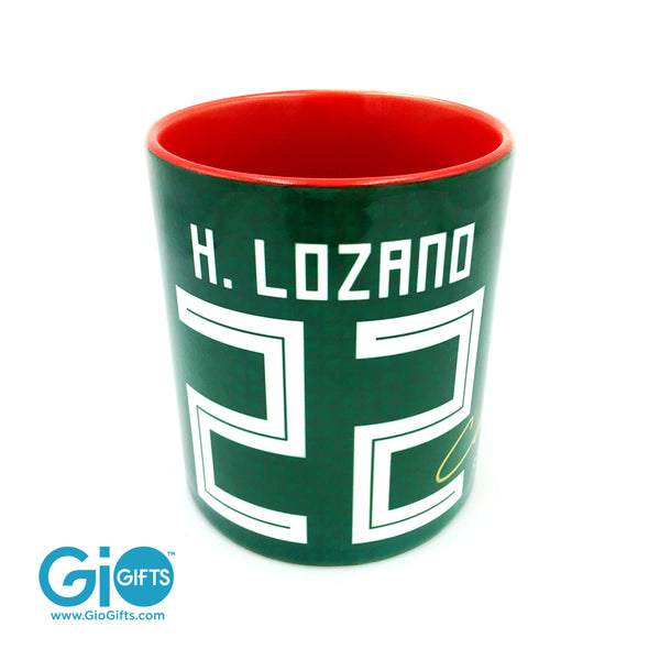 "Hirving ""Chucky"" Lozano, Mexico 2018 World Cup Autographed Mug with Gold Coin - gio-gifts"