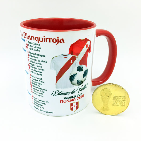 Peru 2018 World Cup Mug with Gold Coin - gio-gifts