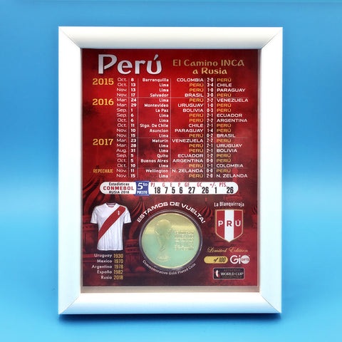 Peru La Blanquirroja 2018 World Cup Framed Gold Coin - gio-gifts