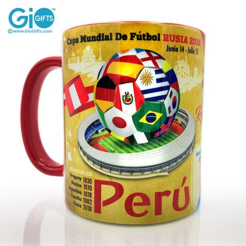 PERU, The Road To The World Cup, Russia 2018 Souvenir Coffee Mug - gio-gifts