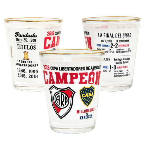 River Plate Gold Rim Shot Glasses set of Two - gio-gifts