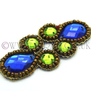 GREEN BLUE BEADED MOTIF  - sarahi.NYC - Sarahi.NYC