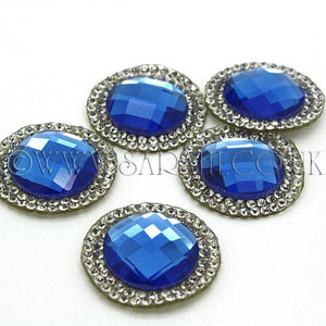PACK OF 5 BLUE CIRCLE RHINESTONE MOTIFS - sarahi.NYC - Sarahi.NYC