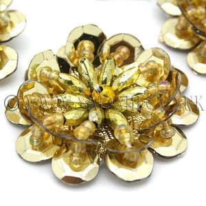 GOLD BEADED FLOWER PACK 5- sarahi.NYC - Sarahi.NYC