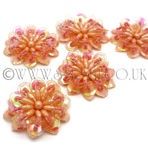 CORAL PINK SEQUIN FLOWER PACK 5- sarahi.NYC - Sarahi.NYC