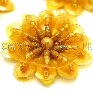 MUSTARD YELLOW SEQUIN FLOWER  MOTIFS - Pack of 5 - sarahi.NYC - Sarahi.NYC