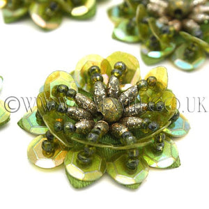 OLIVE GREEN SEQUIN FLOWER  MOTIFS - Pack of 5 - sarahi.NYC - Sarahi.NYC