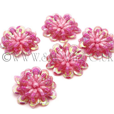 PINK SEQUIN FLOWER  MOTIFS - Pack of 5 - sarahi.NYC - Sarahi.NYC