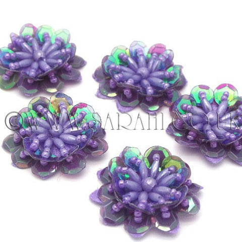 PURPLE LILAC SEQUIN FLOWER  MOTIFS - Pack of 5 - sarahi.NYC - Sarahi.NYC
