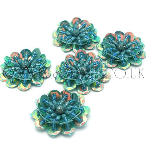 TURQUOISE GREEN SEQUIN FLOWER  MOTIFS - Pack of 5 - sarahi.NYC - Sarahi.NYC