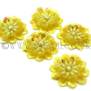 YELLOW  SEQUIN FLOWER  MOTIFS - Pack of 5 - sarahi.NYC - Sarahi.NYC