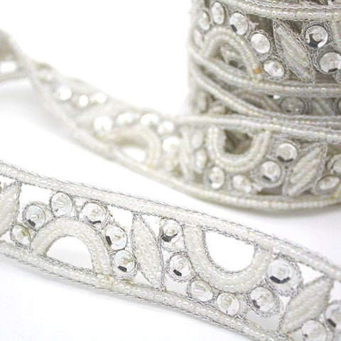 WHITE SILVER BEADED SEQUIN TRIM - sarahi.NYC - Sarahi.NYC