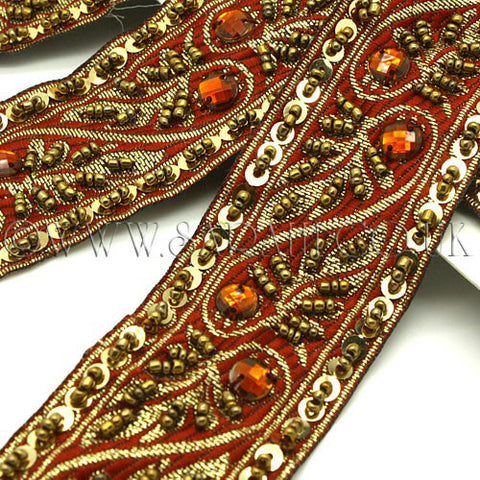 BROWN GOLD BEADED & SEQUIN RIBBON  TRIM  - sarahi.NYC - Sarahi.NYC