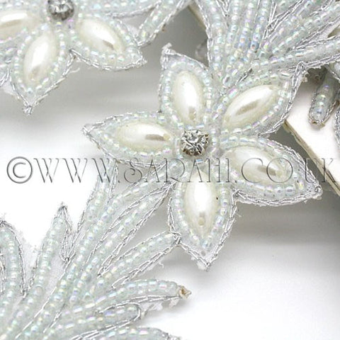 WHITE BEADED FLORAL TRIM - sarahi.NYC - Sarahi.NYC