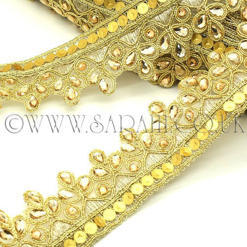 GOLD RHINESTONE & SEQUIN FABRIC  TRIM - sarahi.NYC - Sarahi.NYC