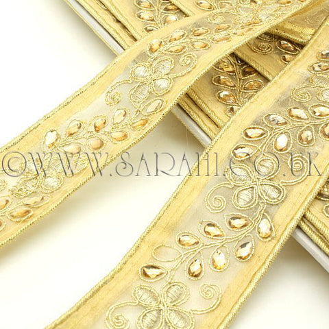 Gold yellow ribbon rhinestone fabric trim - sarahi.NYC - Sarahi.NYC