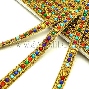 MULTI-COLOUR GOLD RHINESTONE TRIM - sarahi.NYC - Sarahi.NYC