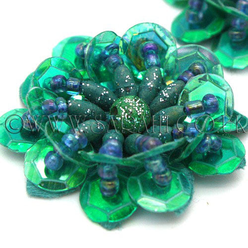 GREEN SEQUIN FLOWER  MOTIFS - Pack of 5 - sarahi.NYC - Sarahi.NYC