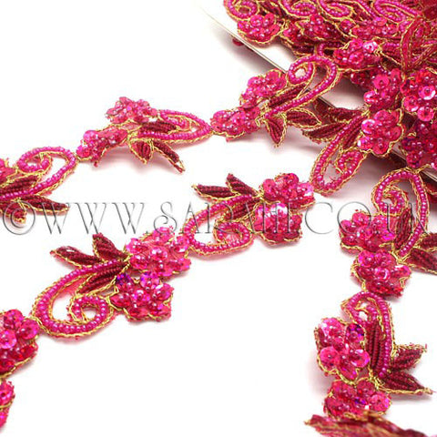 HOT PINK SEQUIN FLORAL BEADED TRIM - sarahi.NYC - Sarahi.NYC