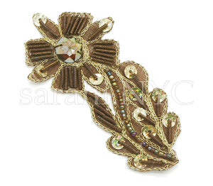BROWN GOLD FLORAL GEM MOTIF - sarahi.NYC - Sarahi.NYC