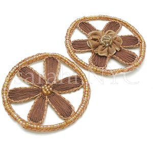 2 X BROWN CIRCLE BEADED MOTIF - sarahi.NYC - Sarahi.NYC