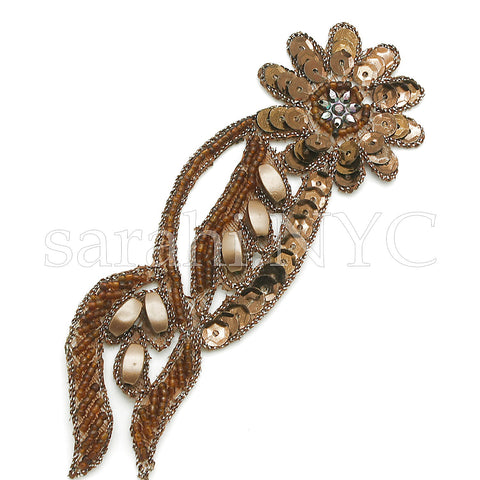 BROWN BEADED SEQUIN FLORAL  MOTIF - sarahi.NYC - Sarahi.NYC