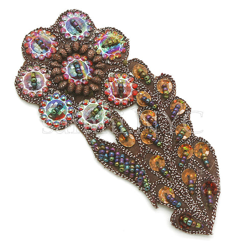 BROWN BEADED FLORAL GEM MOTIF - sarahi.NYC - Sarahi.NYC