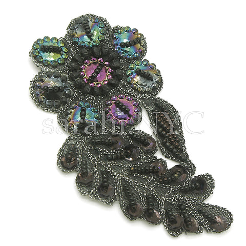 BLACK BEADED FLORAL GEM MOTIF - sarahi.NYC - Sarahi.NYC