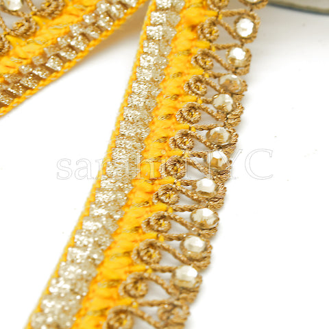 YELLOW GOLD RHINESTONE EDGING TRIM - sarahi.NYC - Sarahi.NYC