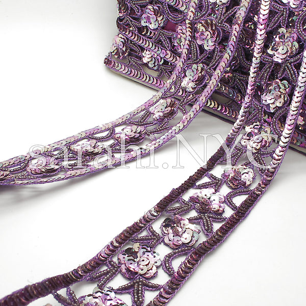 LILAC PINK PURPLE SEQUIN TRIM - sarahi.NYC - Sarahi.NYC