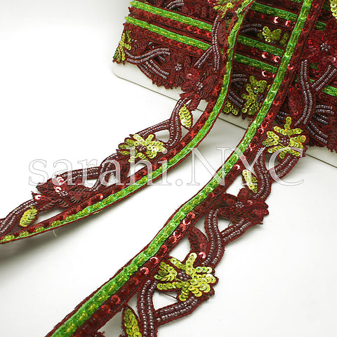 MAROON GREEN EDGING SEQUIN BEADED TRIM - sarahi.NYC - Sarahi.NYC