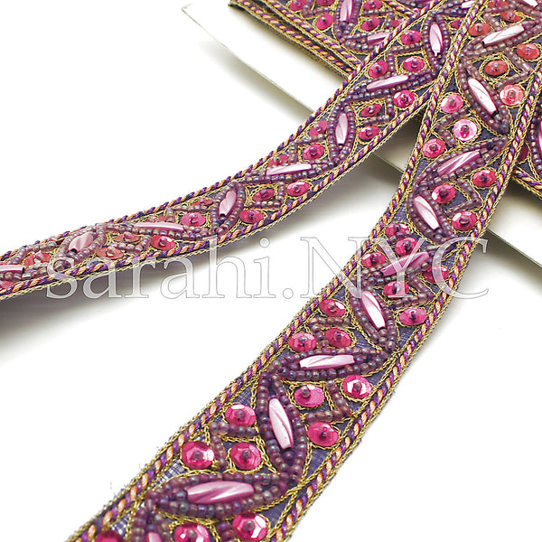 PURPLE PINK  SEQUIN BEADED TRIM - sarahi.NYC - Sarahi.NYC