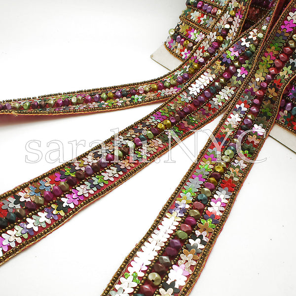 MULTI COLOR RIBBON SEQUIN BEADED TRIM - sarahi.NYC - Sarahi.NYC